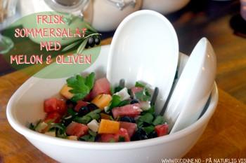 Frisk salat med melon og fetaost