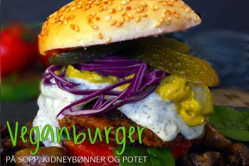 Vegansk burger på sopp, kidneybønner og potet
