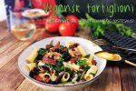 Vegansk tortiglioni med soltørket tomat og kremet saus