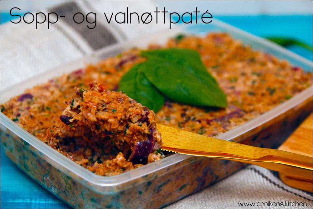 Sopp- og valnøttpaté med spinat og friske urter